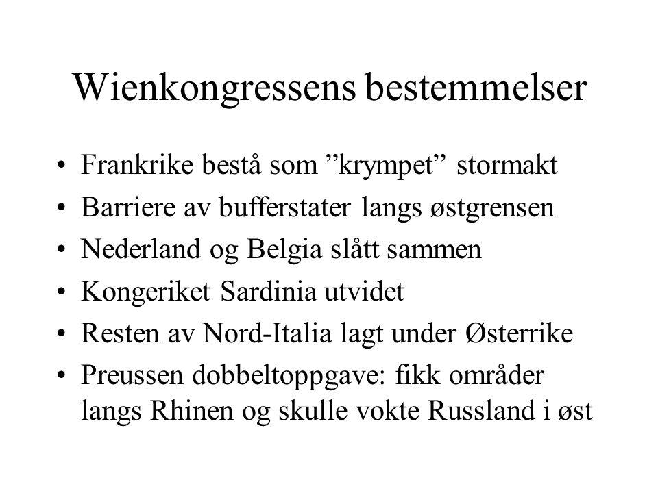 """Wienkongressens bestemmelser •Frankrike bestå som """"krympet"""" stormakt •Barriere av bufferstater langs østgrensen •Nederland og Belgia slått sammen •Kon"""