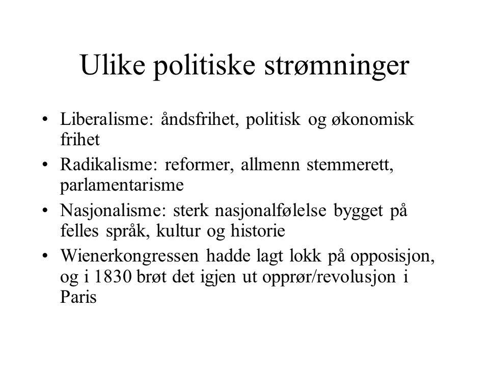 Ulike politiske strømninger •Liberalisme: åndsfrihet, politisk og økonomisk frihet •Radikalisme: reformer, allmenn stemmerett, parlamentarisme •Nasjon