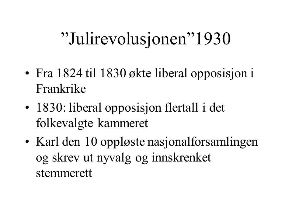 """""""Julirevolusjonen""""1930 •Fra 1824 til 1830 økte liberal opposisjon i Frankrike •1830: liberal opposisjon flertall i det folkevalgte kammeret •Karl den"""