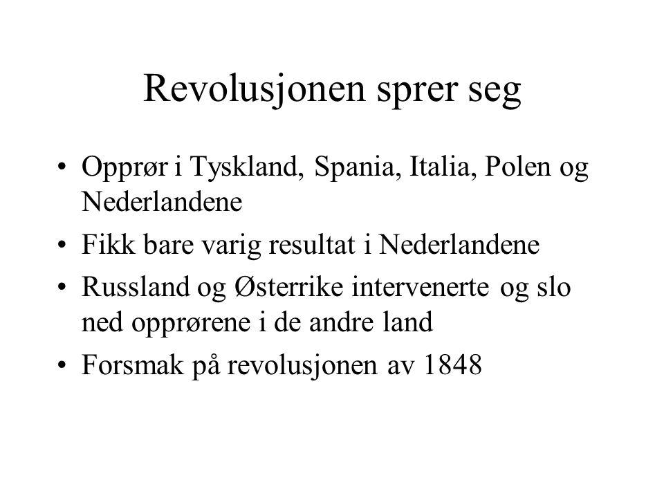 Revolusjonen sprer seg •Opprør i Tyskland, Spania, Italia, Polen og Nederlandene •Fikk bare varig resultat i Nederlandene •Russland og Østerrike inter