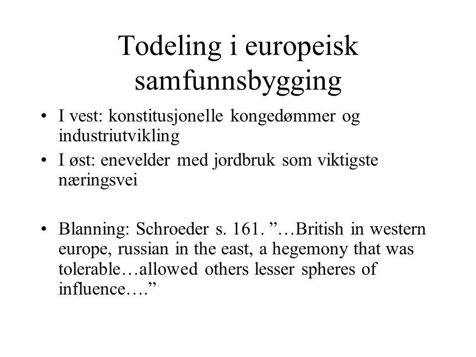 Todeling i europeisk samfunnsbygging •I vest: konstitusjonelle kongedømmer og industriutvikling •I øst: enevelder med jordbruk som viktigste næringsve