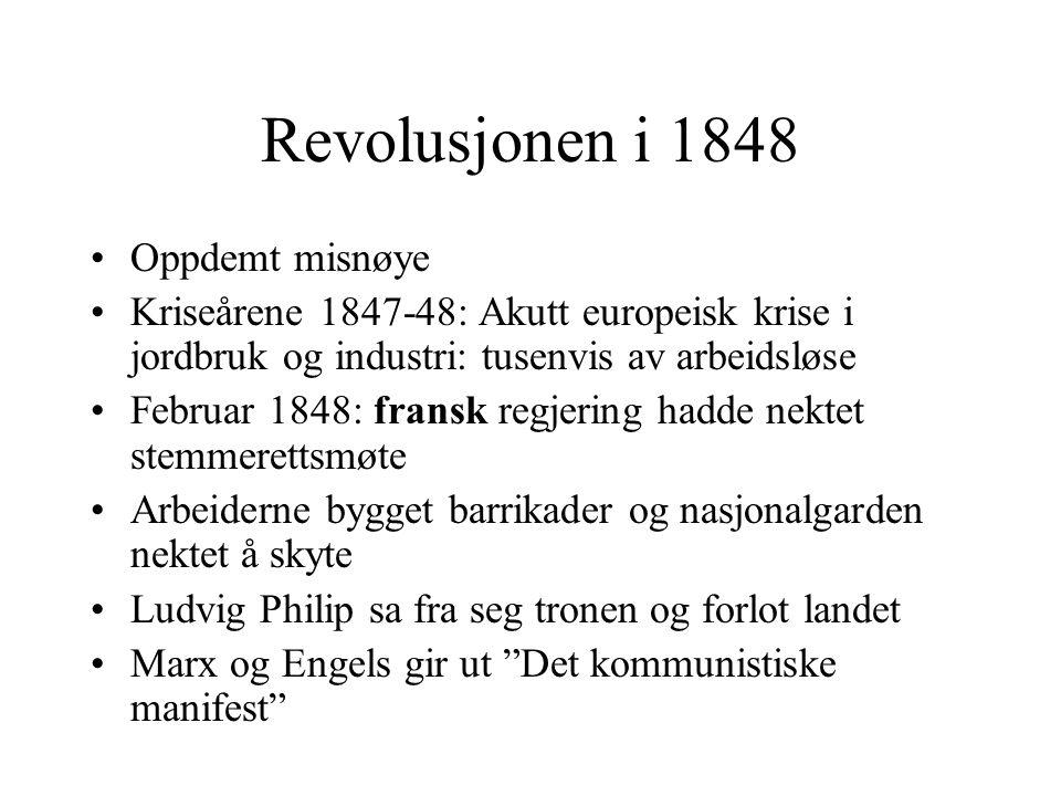 Revolusjonen i 1848 •Oppdemt misnøye •Kriseårene 1847-48: Akutt europeisk krise i jordbruk og industri: tusenvis av arbeidsløse •Februar 1848: fransk