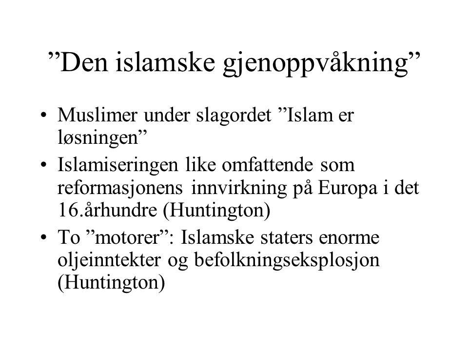 """""""Den islamske gjenoppvåkning"""" •Muslimer under slagordet """"Islam er løsningen"""" •Islamiseringen like omfattende som reformasjonens innvirkning på Europa"""