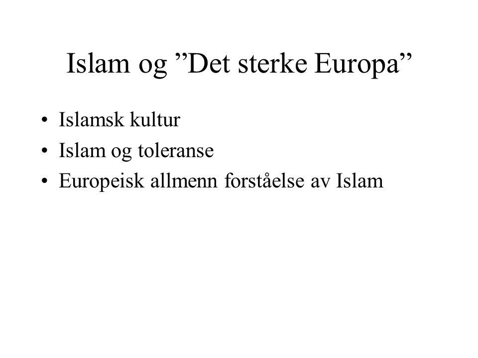 """Islam og """"Det sterke Europa"""" •Islamsk kultur •Islam og toleranse •Europeisk allmenn forståelse av Islam"""