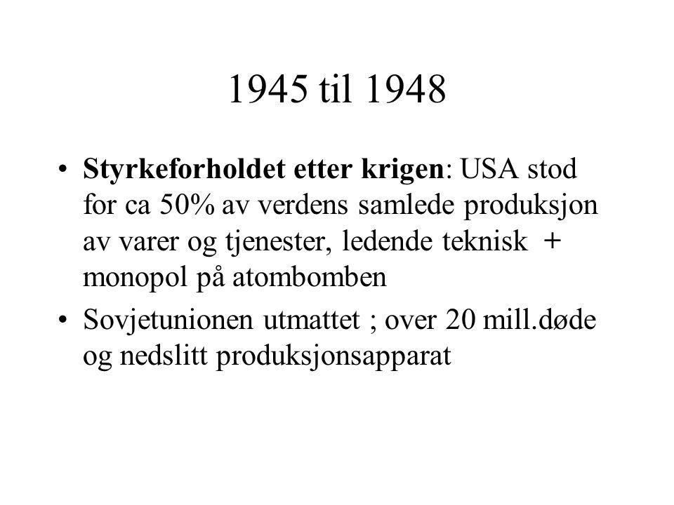 1945 til 1948 •Styrkeforholdet etter krigen: USA stod for ca 50% av verdens samlede produksjon av varer og tjenester, ledende teknisk + monopol på ato