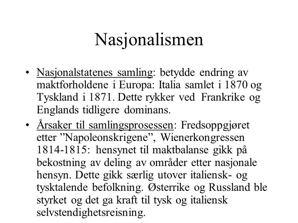 Nasjonalismen •Nasjonalstatenes samling: betydde endring av maktforholdene i Europa: Italia samlet i 1870 og Tyskland i 1871. Dette rykker ved Frankri