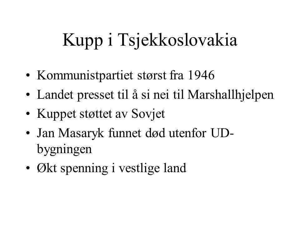 Kupp i Tsjekkoslovakia •Kommunistpartiet størst fra 1946 •Landet presset til å si nei til Marshallhjelpen •Kuppet støttet av Sovjet •Jan Masaryk funne