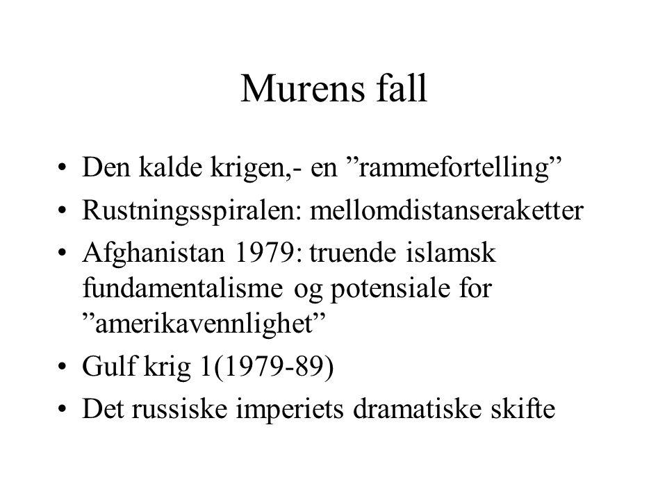 """Murens fall •Den kalde krigen,- en """"rammefortelling"""" •Rustningsspiralen: mellomdistanseraketter •Afghanistan 1979: truende islamsk fundamentalisme og"""