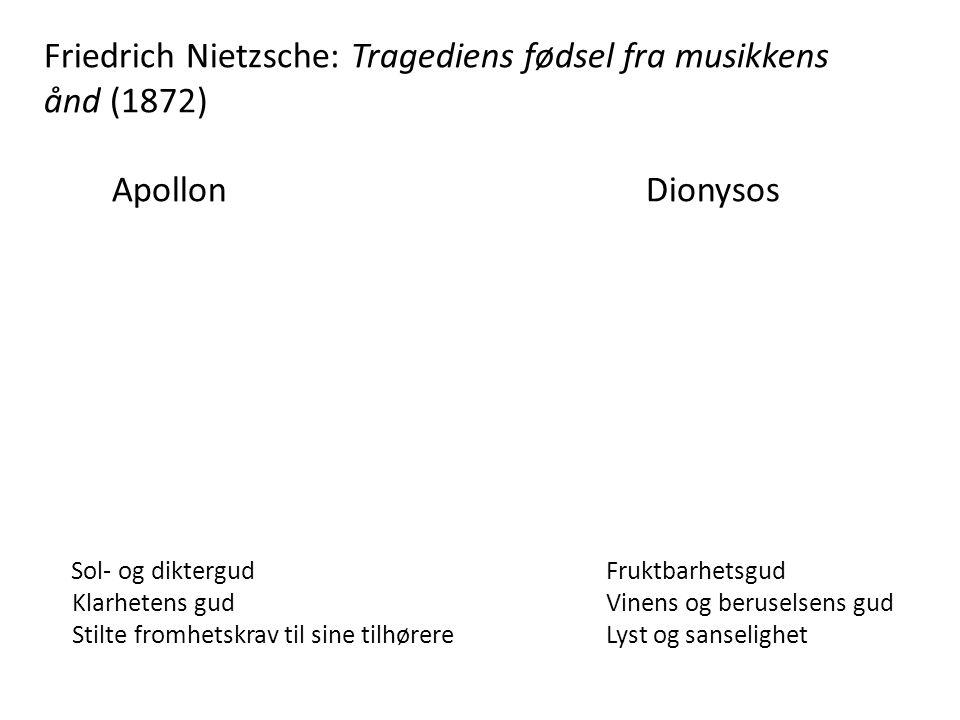 Friedrich Nietzsche: Tragediens fødsel fra musikkens ånd (1872) Apollon Dionysos Sol- og diktergud Fruktbarhetsgud Klarhetens gud Vinens og beruselsen