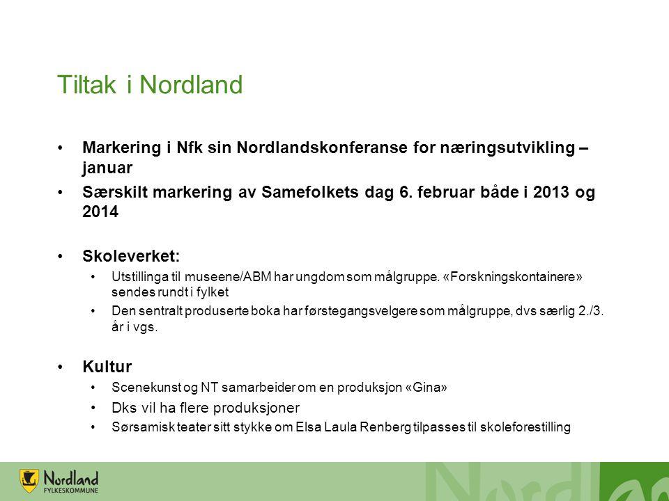 Tiltak i Nordland •Markering i Nfk sin Nordlandskonferanse for næringsutvikling – januar •Særskilt markering av Samefolkets dag 6.