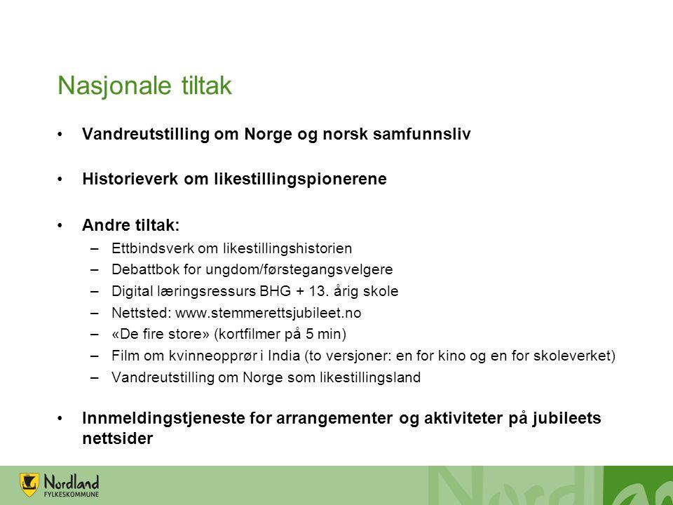 Nasjonale tiltak •Vandreutstilling om Norge og norsk samfunnsliv •Historieverk om likestillingspionerene •Andre tiltak: –Ettbindsverk om likestillings