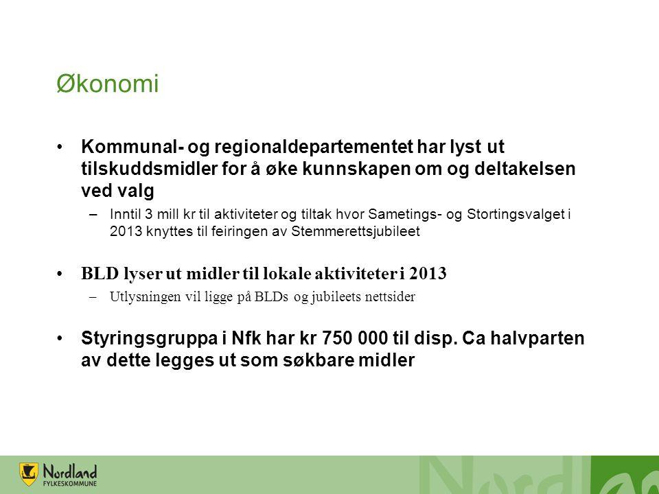 Økonomi •Kommunal- og regionaldepartementet har lyst ut tilskuddsmidler for å øke kunnskapen om og deltakelsen ved valg –Inntil 3 mill kr til aktivite