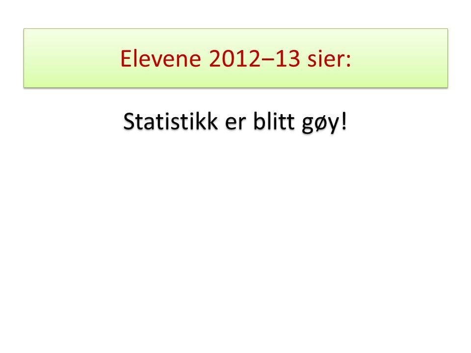 Elevene 2012‒13 sier: Statistikk er blitt gøy!