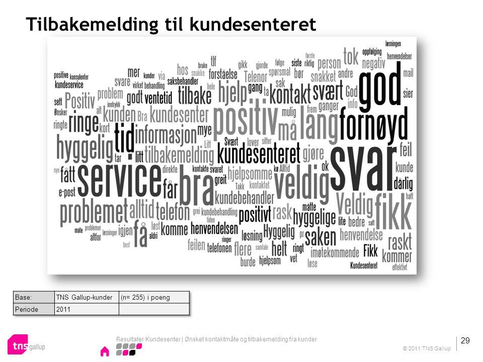 Tilbakemelding til kundesenteret Resultater Kundesenter | Ønsket kontaktmåte og tilbakemelding fra kunder 29 © 2011 TNS Gallup