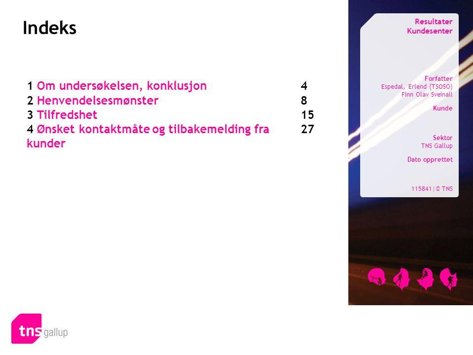 Indeks Resultater Kundesenter Forfatter Espedal, Erlend (TSOSO) Finn Olav Sveinall Kunde Sektor TNS Gallup Dato opprettet 115841|© TNS 1 Om undersøkel
