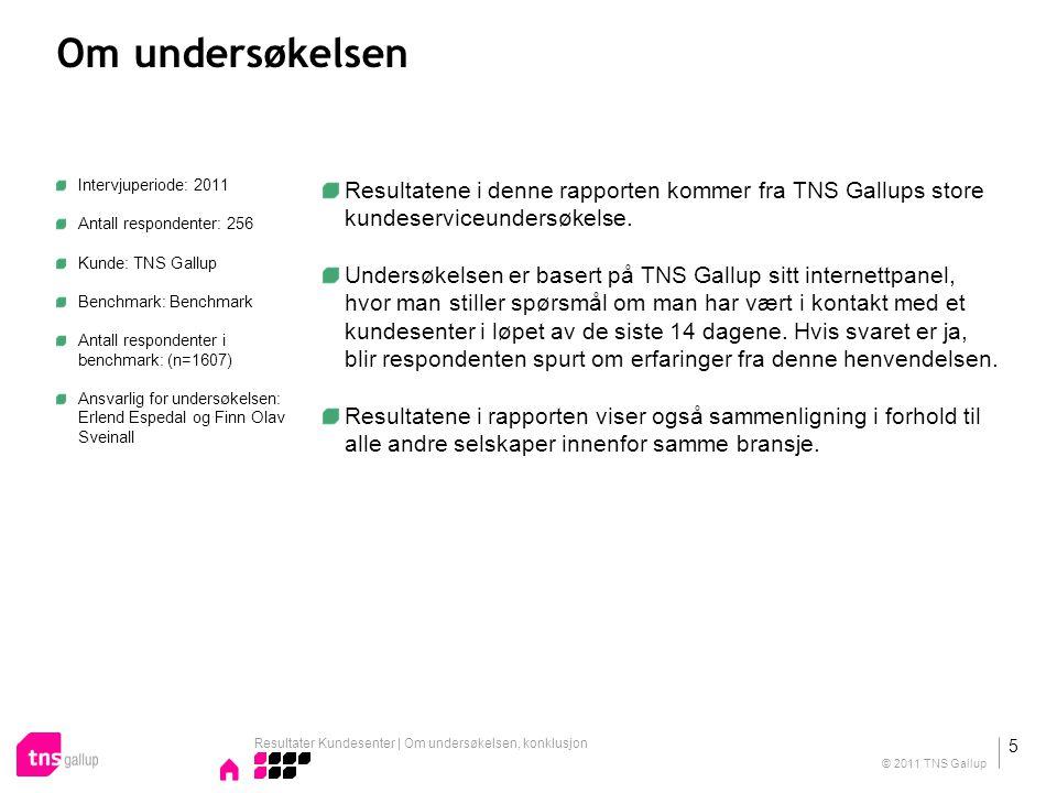 Om undersøkelsen TNS GallupBenchmark Antall respondenter2561607 Intervjuperiode2011 Resultater Kundesenter | Om undersøkelsen, konklusjon 6 © 2011 TNS Gallup