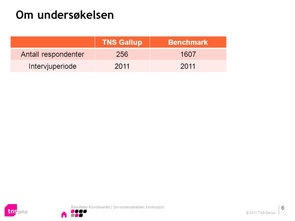 Om undersøkelsen TNS GallupBenchmark Antall respondenter2561607 Intervjuperiode2011 Resultater Kundesenter | Om undersøkelsen, konklusjon 6 © 2011 TNS