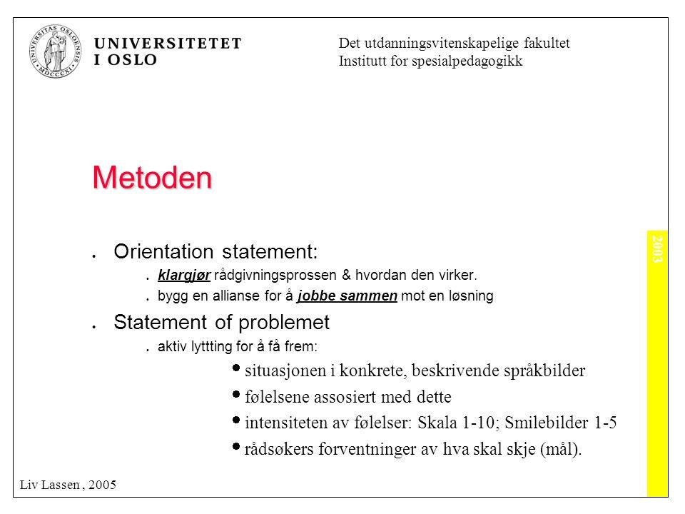 2003 Det utdanningsvitenskapelige fakultet Institutt for spesialpedagogikk Liv Lassen, 2005 Metoden  Orientation statement:  klargjør rådgivningspro