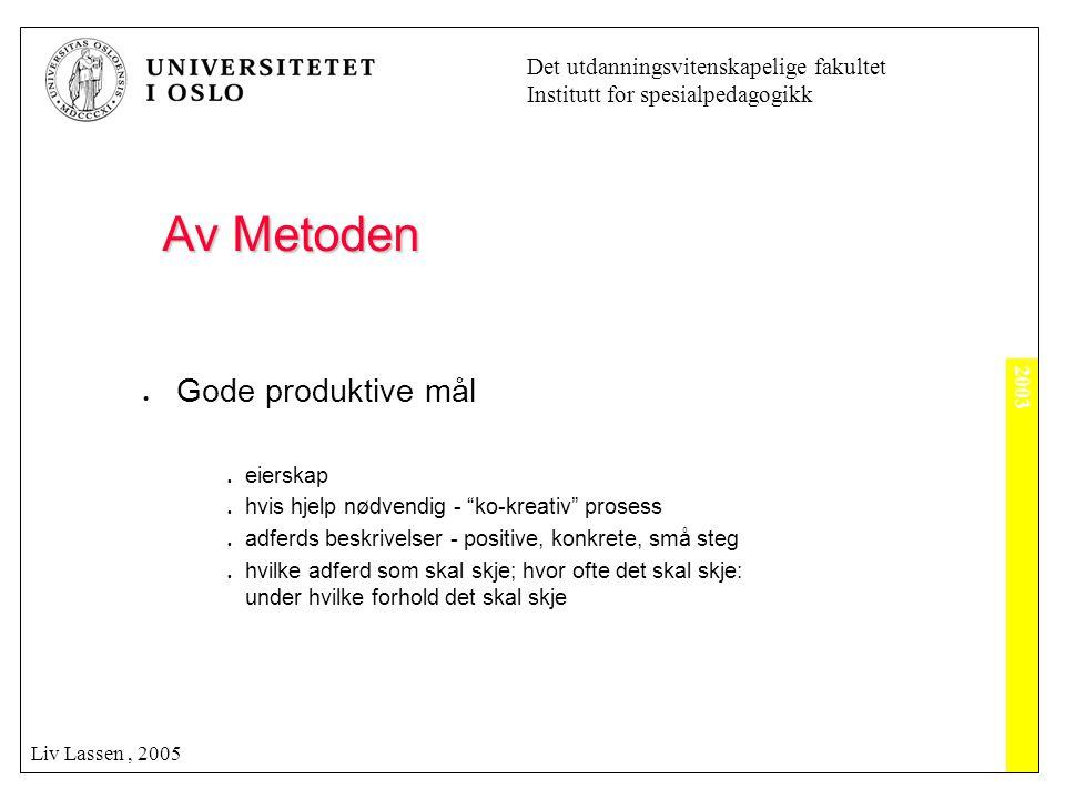 2003 Det utdanningsvitenskapelige fakultet Institutt for spesialpedagogikk Liv Lassen, 2005 Av Metoden Av Metoden  Gode produktive mål  eierskap  h