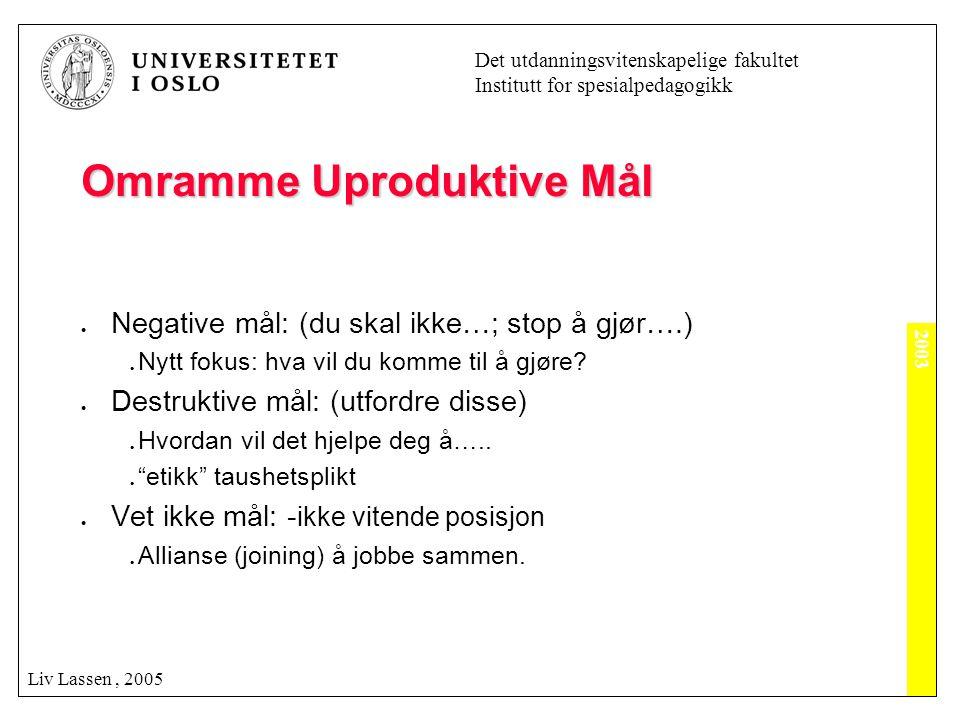 2003 Det utdanningsvitenskapelige fakultet Institutt for spesialpedagogikk Liv Lassen, 2005 Omramme Uproduktive Mål  Negative mål: (du skal ikke…; st