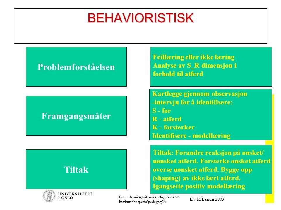 2003 Det utdanningsvitenskapelige fakultet Institutt for spesialpedagogikk Liv M Lassen 2003 BEHAVIORISTISK Problemforståelsen Framgangsmåter Tiltak Feillæring eller ikke læring Analyse av S_R dimensjon i forhold til atferd Kartlegge gjennom observasjon -intervju for å identifisere: S - før R - atferd K - forsterker Identifisere - modellæring Tiltak: Forandre reaksjon på ønsket/ uønsket atferd.
