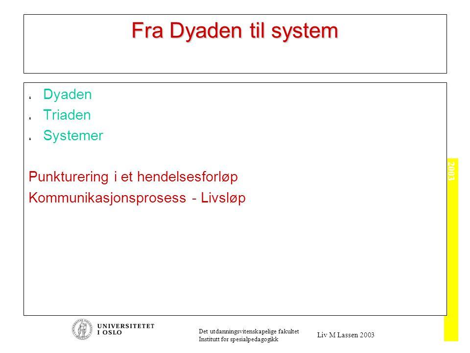 2003 Det utdanningsvitenskapelige fakultet Institutt for spesialpedagogikk Liv M Lassen 2003 Fra Dyaden til system  Dyaden  Triaden  Systemer Punkturering i et hendelsesforløp Kommunikasjonsprosess - Livsløp