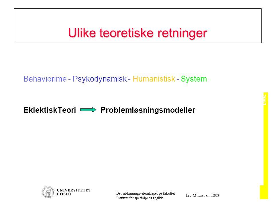 2003 Det utdanningsvitenskapelige fakultet Institutt for spesialpedagogikk Liv M Lassen 2003 Behaviorime - Psykodynamisk - Humanistisk - System EklektiskTeori Problemløsningsmodeller Ulike teoretiske retninger