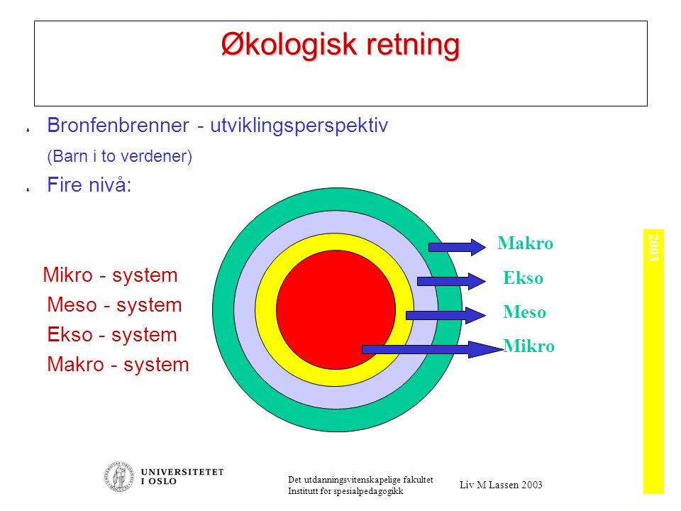2003 Det utdanningsvitenskapelige fakultet Institutt for spesialpedagogikk Liv M Lassen 2003 Økologisk retning  Bronfenbrenner - utviklingsperspektiv (Barn i to verdener)  Fire nivå: Mikro - system Meso - system Ekso - system Makro - system Mikro Meso Ekso Makro