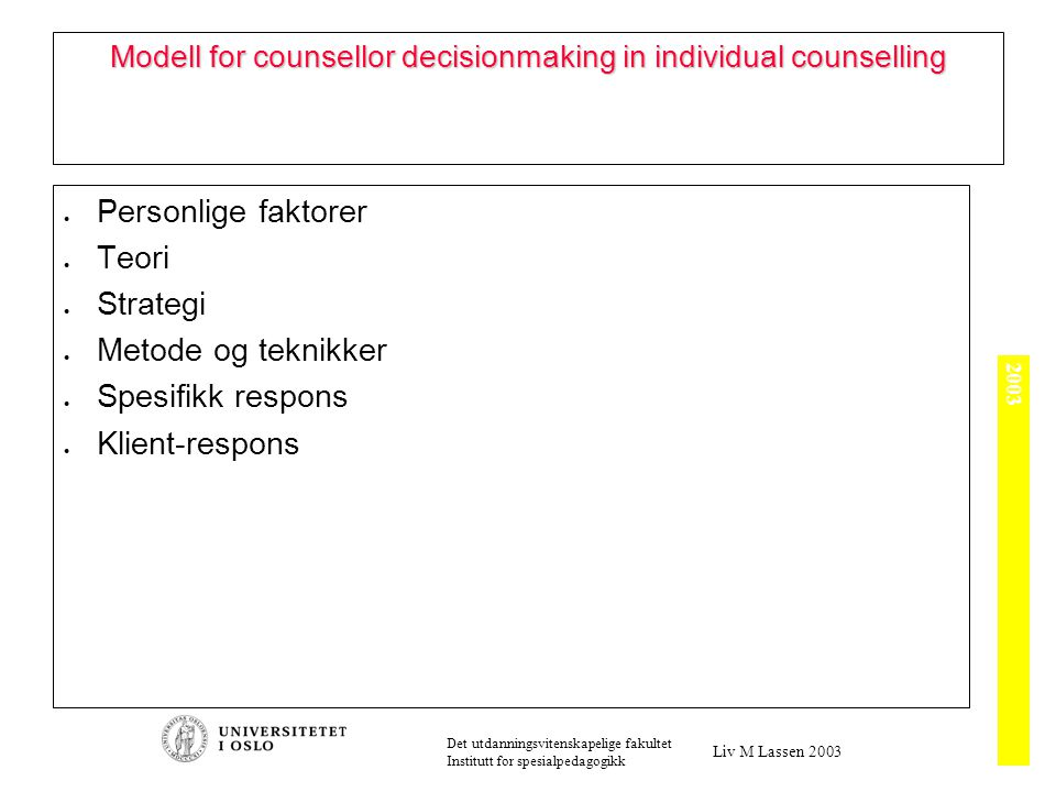 2003 Det utdanningsvitenskapelige fakultet Institutt for spesialpedagogikk Liv M Lassen 2003 Modell for counsellor decisionmaking in individual counse