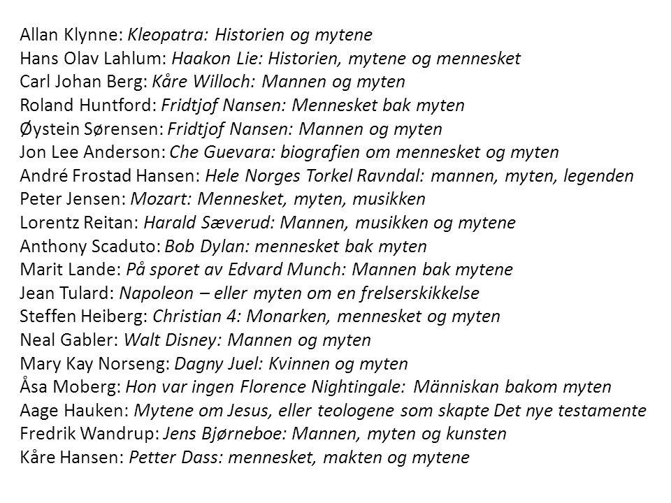 Allan Klynne: Kleopatra: Historien og mytene Hans Olav Lahlum: Haakon Lie: Historien, mytene og mennesket Carl Johan Berg: Kåre Willoch: Mannen og myt