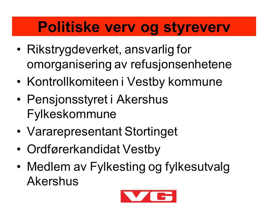 •Rikstrygdeverket, ansvarlig for omorganisering av refusjonsenhetene •Kontrollkomiteen i Vestby kommune •Pensjonsstyret i Akershus Fylkeskommune •Vara
