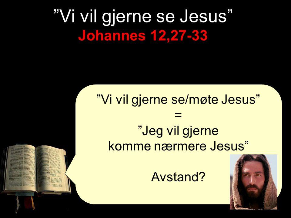 """Vi vil gjerne se/møte Jesus"" = ""Jeg vil gjerne komme nærmere Jesus"" Avstand? Johannes 12,27-33 ""Vi vil gjerne se Jesus"" Johannes 12,27-33"