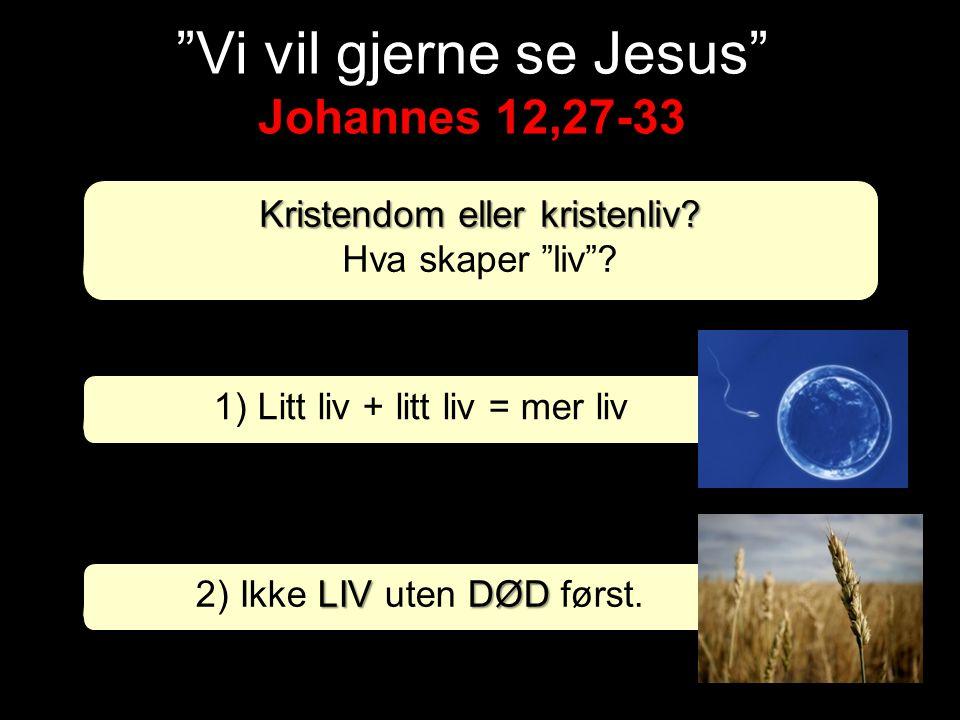 """Kristendom eller kristenliv? Hva skaper """"liv""""? LIVDØD 2) Ikke LIV uten DØD først. 1) Litt liv + litt liv = mer liv"""