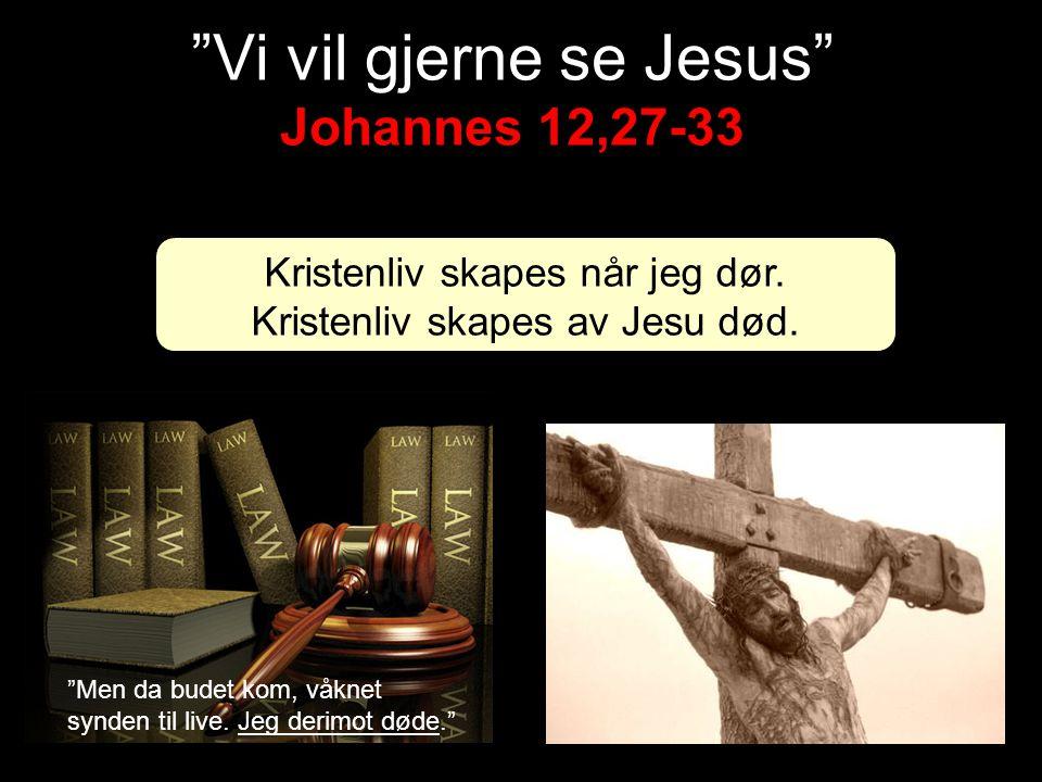 """Kristenliv skapes når jeg dør. Kristenliv skapes av Jesu død. Johannes 12,27-33 """"Vi vil gjerne se Jesus"""" Johannes 12,27-33 """"Men da budet kom, våknet s"""