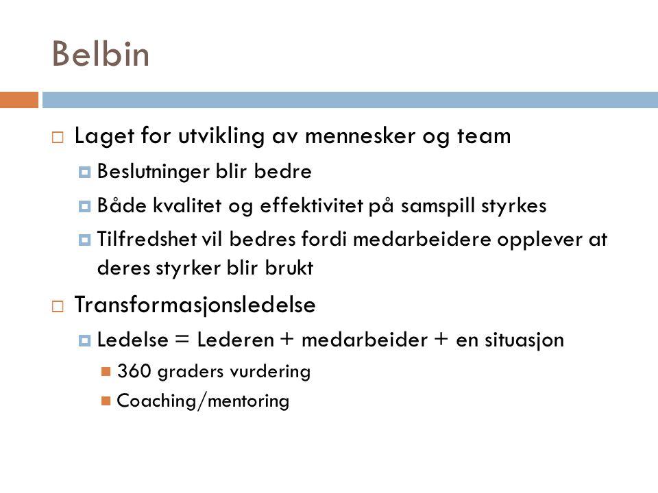 Belbin  Laget for utvikling av mennesker og team  Beslutninger blir bedre  Både kvalitet og effektivitet på samspill styrkes  Tilfredshet vil bedr