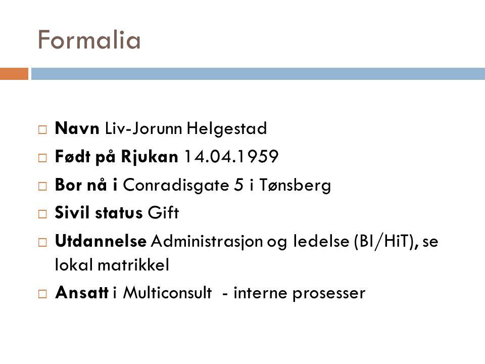 Formalia  Navn Liv-Jorunn Helgestad  Født på Rjukan 14.04.1959  Bor nå i Conradisgate 5 i Tønsberg  Sivil status Gift  Utdannelse Administrasjon