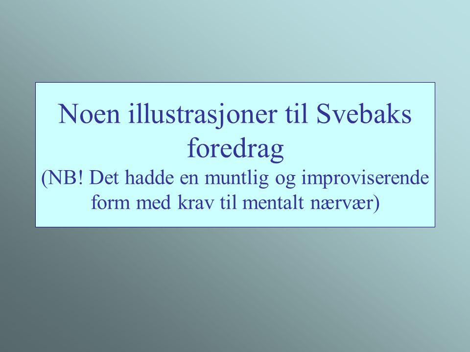 Noen illustrasjoner til Svebaks foredrag (NB! Det hadde en muntlig og improviserende form med krav til mentalt nærvær)