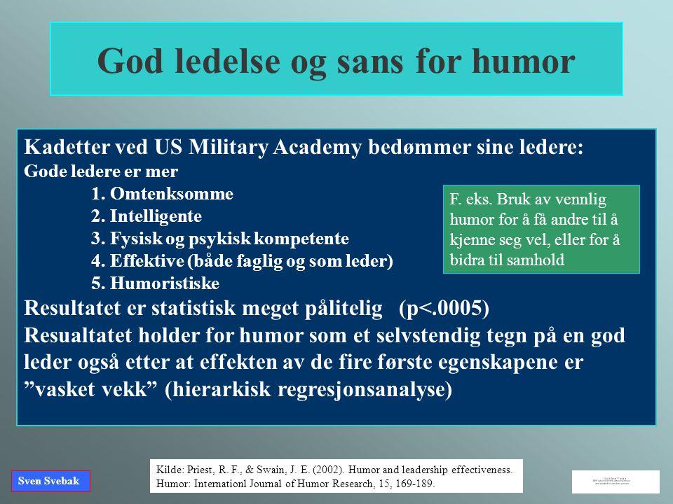 God ledelse og sans for humor Kadetter ved US Military Academy bedømmer sine ledere: Gode ledere er mer 1. Omtenksomme 2. Intelligente 3. Fysisk og ps