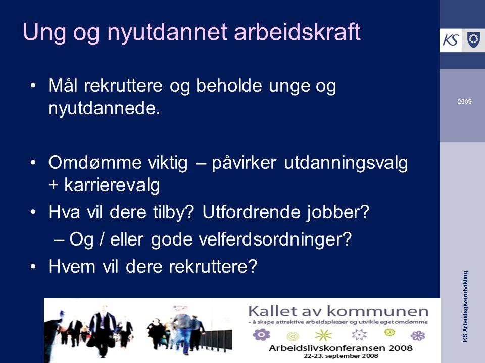 KS Arbeidsgiverutvikling 2009 Ung og nyutdannet arbeidskraft •Mål rekruttere og beholde unge og nyutdannede.