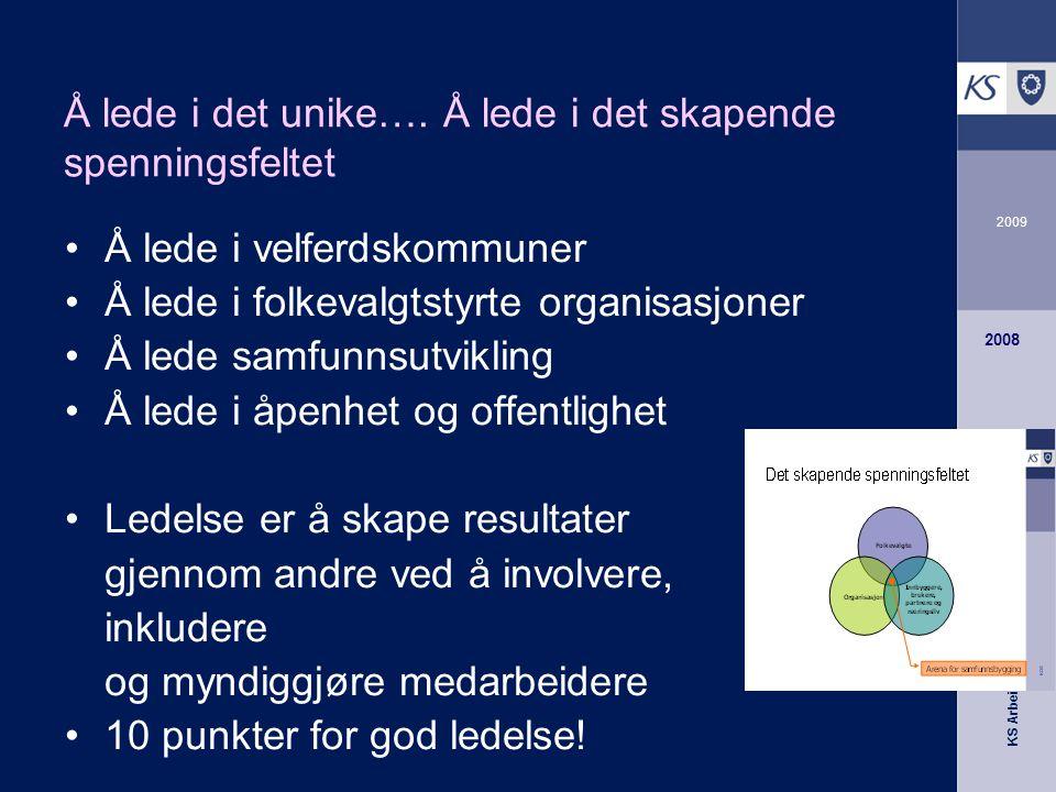 KS Arbeidsgiverutvikling 2009 2008 Å lede i det unike….