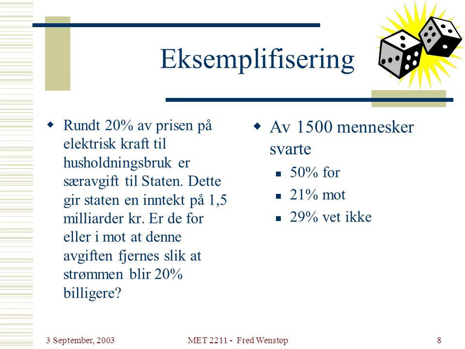 3 September, 2003 MET 2211 - Fred Wenstøp8 Eksemplifisering  Rundt 20% av prisen på elektrisk kraft til husholdningsbruk er særavgift til Staten. Det