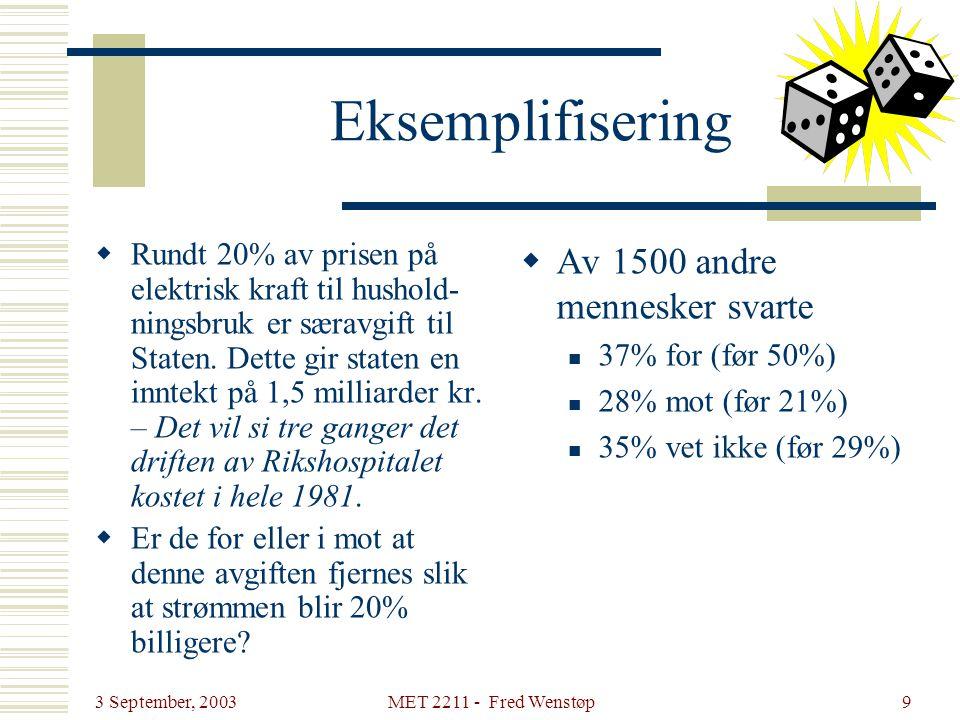 3 September, 2003 MET 2211 - Fred Wenstøp9 Eksemplifisering  Rundt 20% av prisen på elektrisk kraft til hushold- ningsbruk er særavgift til Staten. D
