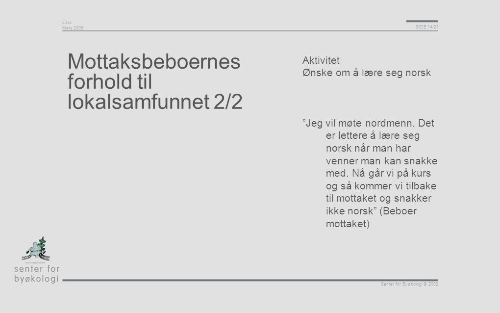 """Oslo Mars 2009 SIDE 14/21 Senter for Byøkologi © 2008 Mottaksbeboernes forhold til lokalsamfunnet 2/2 Aktivitet Ønske om å lære seg norsk """"Jeg vil møt"""
