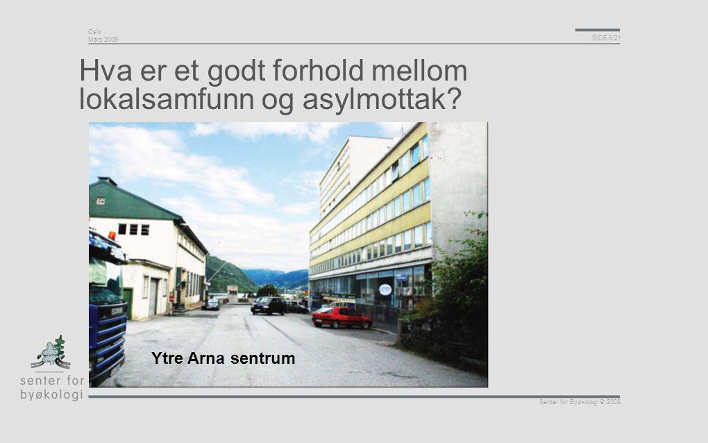 Oslo Mars 2009 SIDE 9/21 Senter for Byøkologi © 2008 Hva er et godt forhold mellom lokalsamfunn og asylmottak? Ytre Arna sentrum