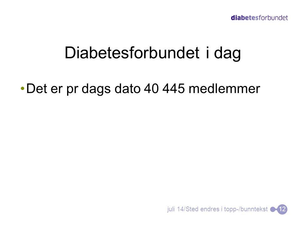 Diabetesforbundet i dag •Det er pr dags dato 40 445 medlemmer juli 14/Sted endres i topp-/bunntekst12