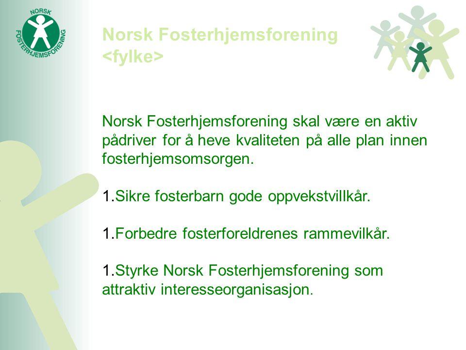 Norsk Fosterhjemsforening skal være en aktiv pådriver for å heve kvaliteten på alle plan innen fosterhjemsomsorgen. 1.Sikre fosterbarn gode oppvekstvi