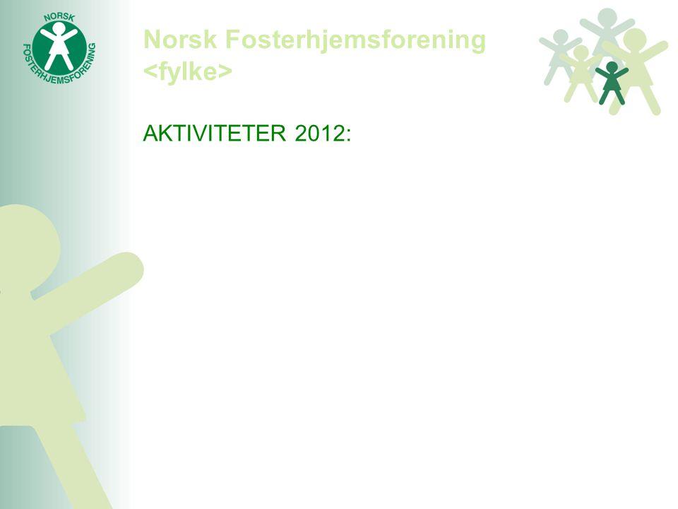 Norsk Fosterhjemsforening AKTIVITETER 2012: