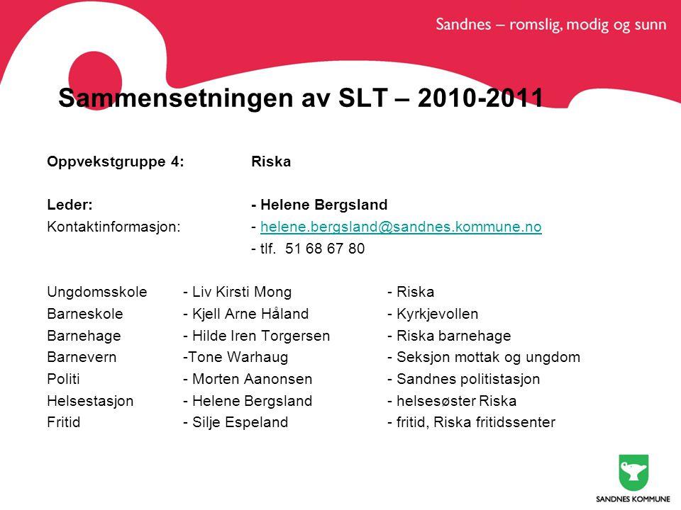 Sammensetningen av SLT – 2010-2011 Oppvekstgruppe 4: Riska Leder:- Helene Bergsland Kontaktinformasjon:- helene.bergsland@sandnes.kommune.nohelene.bergsland@sandnes.kommune.no - tlf.