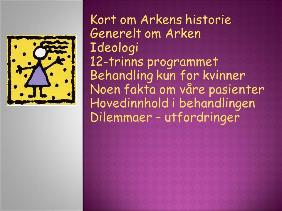 Kort om Arkens historie Generelt om Arken Ideologi 12-trinns programmet Behandling kun for kvinner Noen fakta om våre pasienter Hovedinnhold i behandlingen Dilemmaer – utfordringer