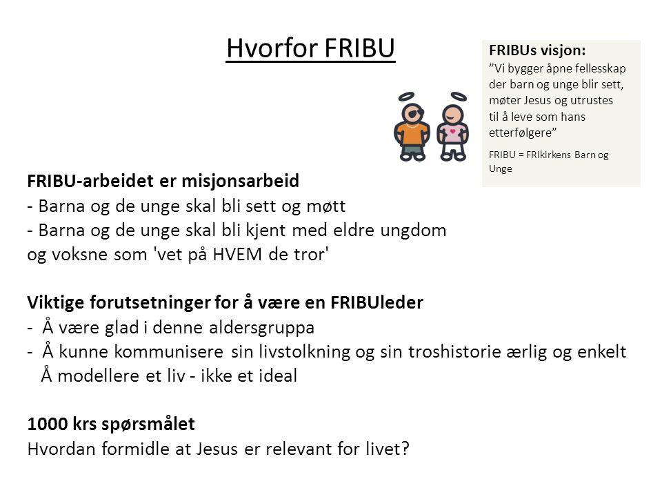 """Hvorfor FRIBU FRIBUs visjon: """"Vi bygger åpne fellesskap der barn og unge blir sett, møter Jesus og utrustes til å leve som hans etterfølgere"""" FRIBU ="""